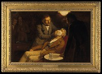 view The first use of ether in dental surgery, 1846. Oil painting by Ernest Board.