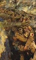 view World War I: The Red Cross in the trenches. Oil painting by Cyrus Cuneo.