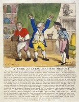 view An itinerant doctor, by a subterfuge, cures an undergraduate hoaxer of his supposed maladies of lying and bad memory. Coloured etching by T. Rowlandson, 1807, after G.M. Woodward.
