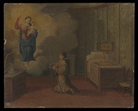 view Votive picture: a woman kneeling with crutches, praying to the Virgin and Child. Oil painting.