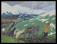 """view World War I: """"transport of our wounded in Russia, 1918"""". Oil painting by Godfrey Jervis Gordon (""""Jan Gordon"""")."""