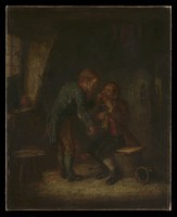 view In a room in a cottage, a surgeon about to extract a man's tooth. Oil painting.