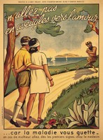 view A young man and a young woman walking blindfolded along an idyllic lakeside path towards a satyr; representing ignorance leading to sexually transmitted diseases. Colour lithograph, ca. 1925.