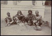 view A group of bearded elderly men, in a temple precinct. Photograph, ca.1900.