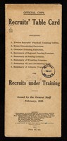 view Recruits' table card : containing 1.Twelve recruits' physical training tables, 2.Brain stimulating exercises, 3.Obstacle training exercises, 4.Summary of bayonnet fencing exercises, 5.Summary of boxing lessons, 6.Summary of wrestling lessons, 7.Summary of land swimming drill, 8.Summary of athletic training for recruits under training / issued by the General Staff, February, 1922.