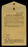 view Diary of transference / [War Office].
