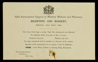 view Reception and banquet, Friday, 10th May, 1929 / International Congress of Military Medicine and Pharmacy.