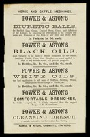 view Horse and cattle medicines... / Fowke & Aston, chemists, Stafford.