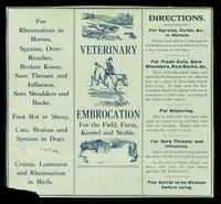 view Veterinary embrocation for the field, farm, kennel and stable.