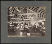 view Bombay plague epidemic, 1896-1897: interior of a temporary hospital for plague victims. Photograph.
