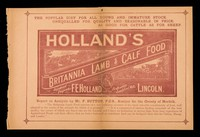 view The popular diet for all young and immature stock : unequalled for quality and reasonable in price : as good for cattle as for sheep : Holland's Britannia lamb and calf food