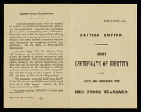 view Army certificate of identity for civilians wearing the red cross brassard.