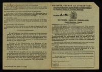 view Masters, seamen and apprentices serving on foreign-going ships or ships engaged in regular trade on foreign stations : Class A.(M.) : national health insurance contribution card.