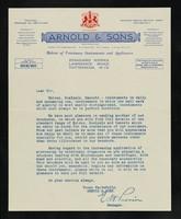 view Arnold & Sons (Savory & Moore Ltd.) [letterhead] : Directors: E.T. Neathercoat, Ph.C., E.A. Umney, Ph.C, E.J.C. Savory, J.E. Saul, Ph. C., F.I.C. : makers of veterinary instruments and appliances : Standard Works, Lawrence Road, Tottenham, N.15.