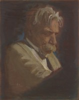 view Albert Schweitzer. Oil painting by Helen Kiddall.