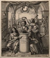 view Francis Bacon and William Brouncker flanking a bust of King Charles II set on a pedestal, surrounded by symbols of scientific learning representing the Royal Society. Etching by W. Hollar, 1667, after J. Evelyn.