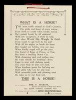 view What is a horse? / with the compliments of Rob. V. Avezaat, exporter and importer of high class horses, 121, Elgin Avenue, London, W.9. who always uses and recommends Cupiss' Constitution Balls.