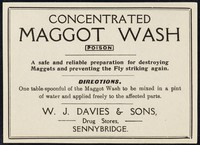 view Concentrated maggot wash : poison : a safe and reliable preparation for destroying maggots and preventing the fly striking again / W.J. Davies & Sons.
