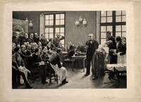 view Jean-Martin Charcot demonstrating hysteria in a hypnotised patient at the Salpêtrière. Etching by A. Lurat, 1888, after P.A.A. Brouillet, 1887.