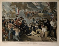 view The death of Lord Nelson aboard HMS Victory at the battle of Trafalgar. Coloured engraving by J. Heath, 1811, after B. West.