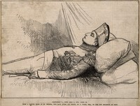 view The body of Napoleon Bonaparte laid out after death, 1821. Wood engraving after J. Ward.