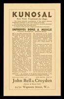 view Kunosal : new tonic treatment for dogs... / John Bell & Croyden (Savory & Moore Ltd.).
