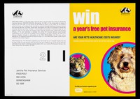 view Win a year's free pet insurance : are your pet's healthcare costs insured? : complete protection from just 16p a day for cats and 23 p. a day for dogs : the only pet insurance supported by the RSPCA