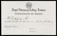 view Certificate of merit / Royal Veterinary College.