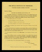 view Election of officers and council, 1973 : ...ballot paper / Royal Institute of Chemistry.