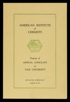 view Program of annual conclave at Yale University : New Haven, Connecticut, March 28, 1927 / American Institute of Chemists.