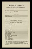 view Balloting list 30 November 1956 / The Royal Society.