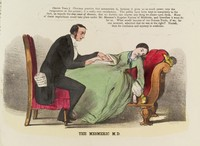 view A mesmeric physician taking advantage of his female patient. Colour lithograph, 1852.