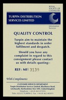 view Quality control : Turpin aim to maintain the highest standards in order fulfilment and despatch...