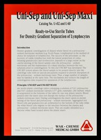 view Uni-Sep and Uni-Sep Maxi : Catalog no. U-02 and U-10 : ready-to-use sterile tubes for density gradient separation of lymphocytes