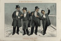 view Gladstone and three other politicians involved in Irish politics as Christmas drinking companions. Lithograph by Tom Merry, 24 December 1887.