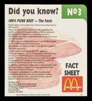 view 100% pure beef : the facts / McDonald's Restaurants Limited, Public Relations Department.