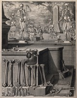 view Human bones in the foreground; skeletons in the background. Engraving after C. Martinez, ca. 1680 (?).