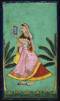 view An Indian lady looking at herself in a mirror. Gouache painting by an Indian painter.