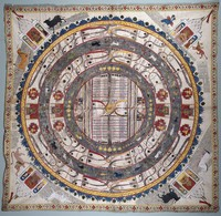 view Jambūdvīpa, the central continent of the middle world in Jain cosmology. Watercolour.