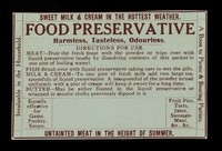 view Food preservative : harmless, tasteless, odourless : directions for use.
