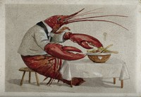 view A lobster seated at a table, serving itself from a bowl of salad. Drawing by G. Hope Tait, ca. 1900.