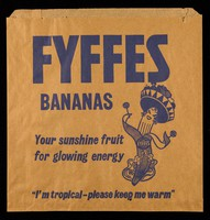 "view Fyffes bananas : your sunshine fruit for glowing energy : ""I'm tropical- please keep me warm"" : unzipp [sic] a Fyffes banana"