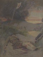 view World War I: a Scottish soldier, wearing the kilt, lying wounded on a battlefield. Oil painting by Ernest Board, ca. 1916/1918.