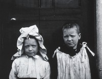view Gloucester smallpox epidemic, 1896: two convalescent children. Photograph by H.C.F., 1896.