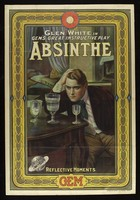 "view An absinthe addict eyeing three glasses on a table; advertisement for film ""Absinthe"". Colour lithograph, ca. 1913."