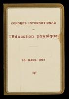 view Congrès international de l'éducation physique : 20 mars 1913 : menu / Palais d'Orsay.