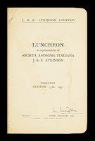 view Luncheon to the representatives of Società Anonima Italiana J. & E. Atkinson : Bermondsey, August 15th, 1951.