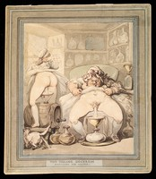 view An English rural apothecary's shop in which women apothecaries produce eye-lotion from their own urine. Watercolour by Thomas Rowlandson, ca. 1800 (?).
