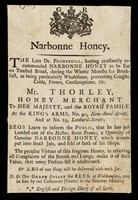 view Narbonne honey... : as being particularly wholesome, preventing coughs, colds, fevers, consumptions, &c.