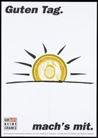 view The sun rising with a yellow condom instead of the sun; representing protection against AIDS. Colour lithograph after M. Kolvenbach and G. Meyer, 199-.
